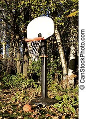 Kids basketball court - A basketball is left lying in the...