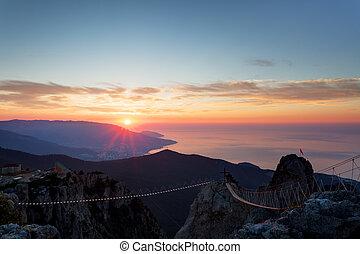 Sunrise from mountain top Ai-Petri in the Crimea