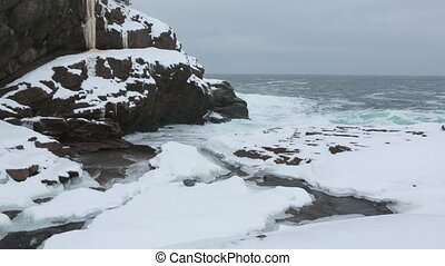 Winter landscape with ocean and river.