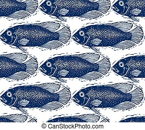 Seamless sea vector pattern, different fish silhouettes Hand...