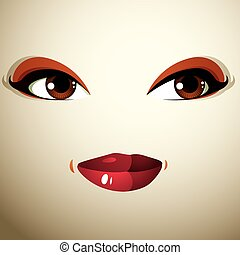 Coquette glad smiling woman eyes and lips, stylish makeup...