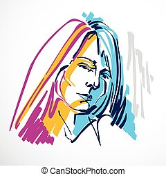 Vector art drawing, portrait of romantic girl isolated on...