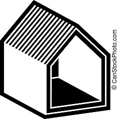 Property developer conceptual business vector icon, real estate emblem.  Building modeling and engineering projects abstract symbol. Simple house.