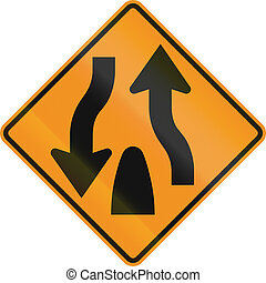 United States MUTCD road sign - End of dual carriageway.