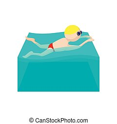 Butterfly swimmer cartoon icon