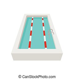 Sport swimming pool cartoon icon on a white background