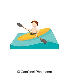 Canoeing cartoon icon on a white background