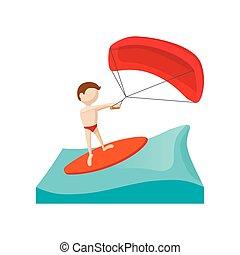 Kitesurfing cartoon icon on a white background