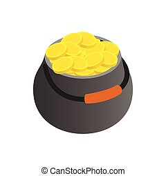 Pot full of gold coins isometric 3d icon