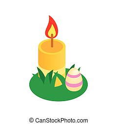 Easter egg  with a candle on a green grass icon