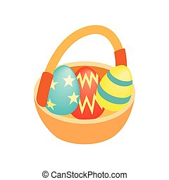 Easter eggs in the basket isometric 3d icon
