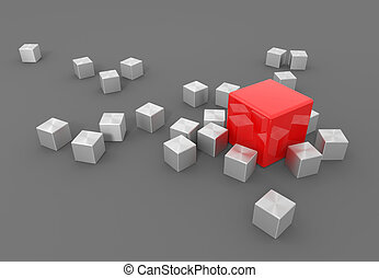 Stand out from the masses - 3d render illustration - red...