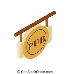 Street signboard of pub isometric 3d icon