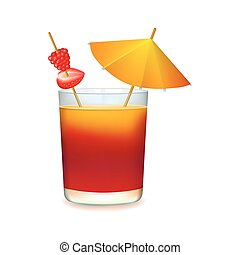 Colourful cocktail with umbrella