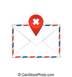 Envelope with a red cross mark flat icon