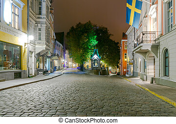 Tallinn The streets at night - Night Street in the Old...