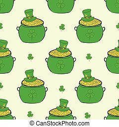 Seamless pots of Saint Patrick - Seamless texture with green...
