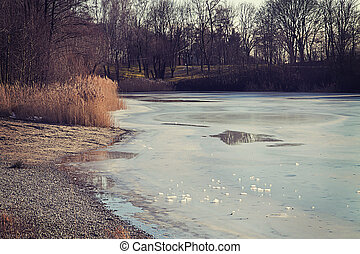 Winter landscape in Bavaria - lake with frozen surface -...