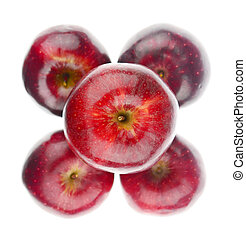 Top view of red apples on white