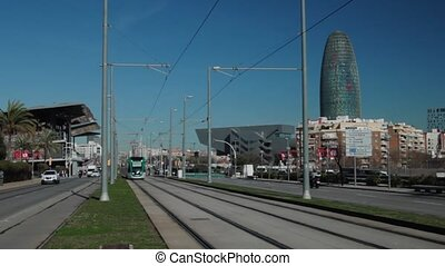 barcelona tramway on avenida Meridiana - SPAIN, BARCELONA-...