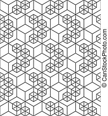 Rhythmic contrast textured endless pattern with cubes,...