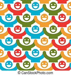 Seamless vector background with colorful smiley faces. People with positive emotions and holding their hands up continuous backdrop.
