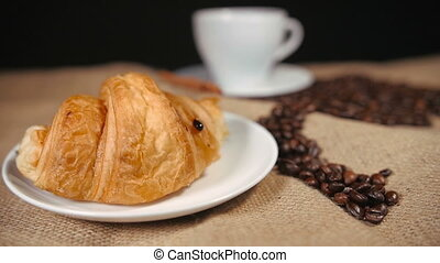 Pouring a Chocolate on Croissant