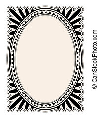 Oval frame - elegant oval frame with decorative filigree;...