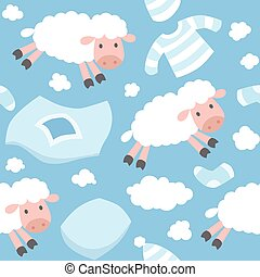 Seamless pattern with funny flying sheeps - Seamless pattern...