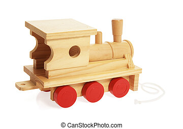 Wooden Toy Train on White Background