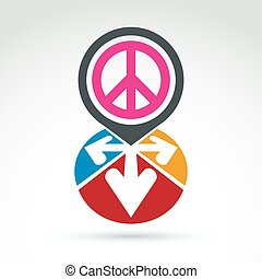 Vector conceptual love and peace sign, colorful arrows in...