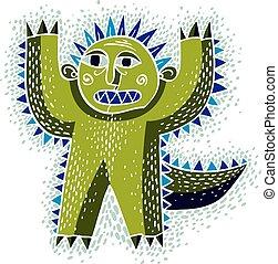 Vector cool cartoon scared green monster, simple weird...