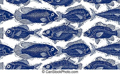Seamless vector sea pattern, different fish silhouettes Hand...