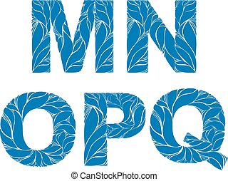 Marine style blue vector font, typeset with floral elegant...