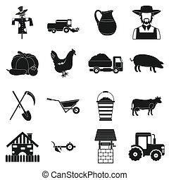 Farm black simple icons set