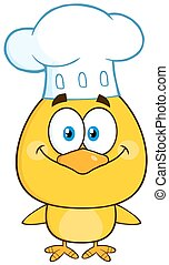 Smiling Chef Yellow Chick Cartoon Character