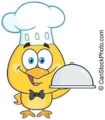 Happy Chef Yellow Chick Cartoon Character Holding A Cloche...