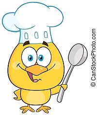 Chef Yellow Chick Holding A Spoon - Happy Chef Yellow Chick...