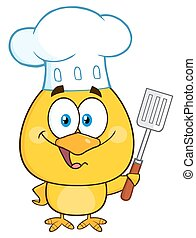 Happy Chef Yellow Chick Cartoon Character Holding A Slotted...