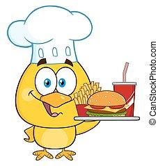 Chef Yellow Chick Character