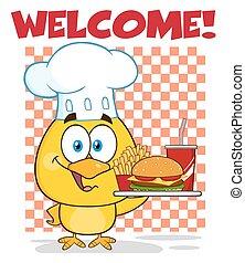 Chef Yellow Chick Cartoon Character