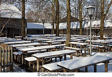 Garching, Germany - Beergarden on wintertime - Garching,...