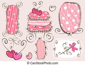 doodles elements - doodles frames and cake