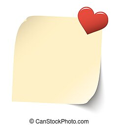 sticky paper with heart pin - little yellow sticky paper...