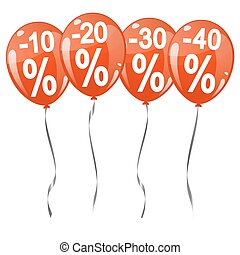 colored balloons with percentage signs - four red colored...