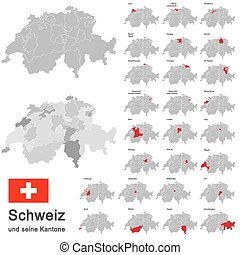 Switzerland and cantons - silhouettes of european country...