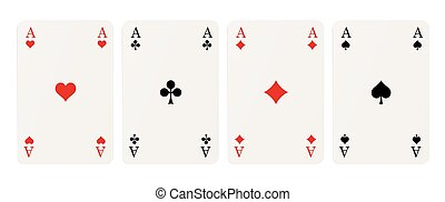 four aces - four playing cards with aces isolated on white...