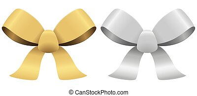 silver and gold bows