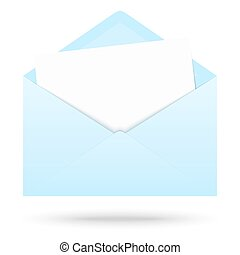 colored envelope with empty paper - light blue colored...