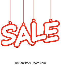 Sale hang tag - hang tag with red letters sale on white...